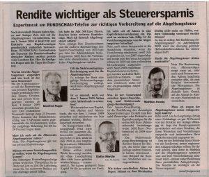 Als Experte des Bundesverbandes Deutscher Banken beim Telefonforum der Lausitzer Rundschau am 17.09.2008 - Teil 1